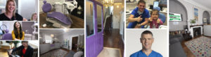 Collage of OCM Dental Practice interior, staff and patients